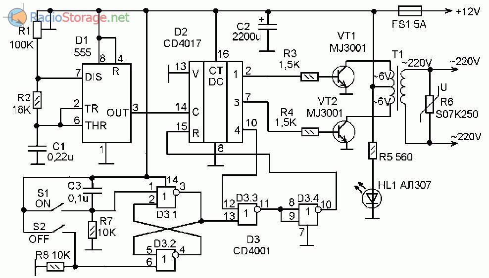 Принципиальная схема инвертора напряжения 12В - 220В с модифицированной синусоидой