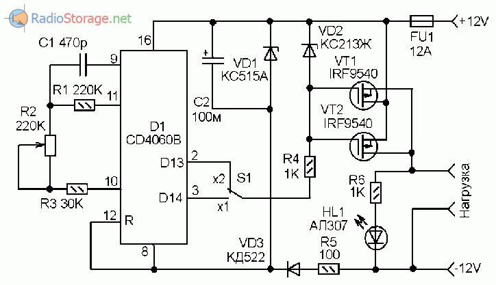 Принципиальная схема прерывателя тока