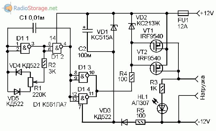Принципиальная схема прерывателя тока для нагрузки с регулировкой