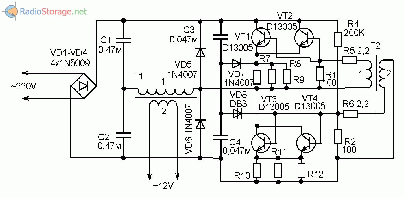 Схема телефонного трансформатора