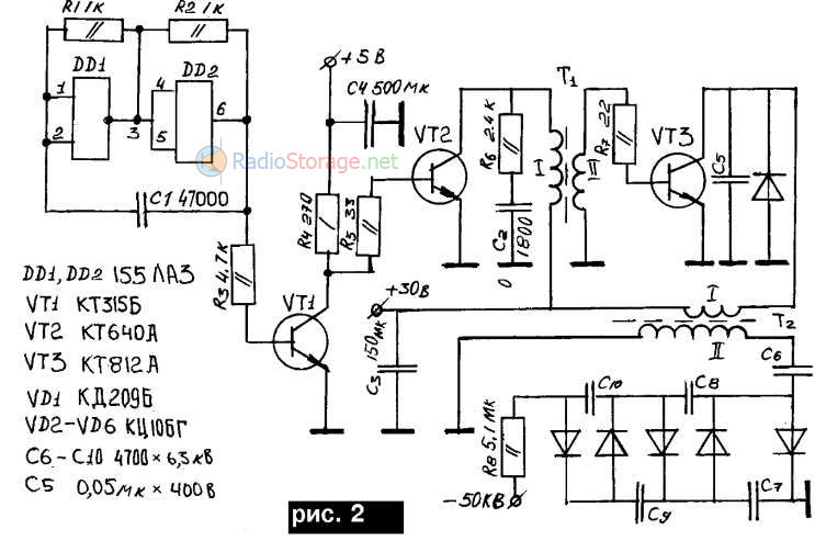 Схема простого ионизатора