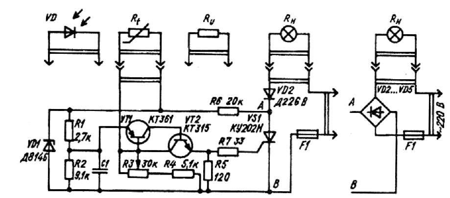 Схема регулятора температуры, освещенности или напряжения.
