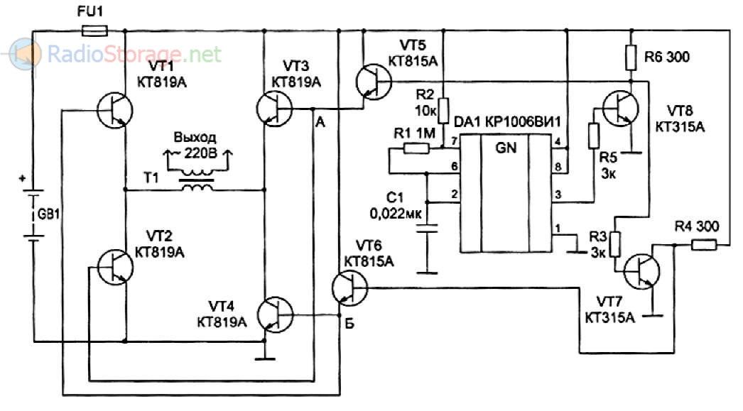 Принципиальная схема преобразователя постоянного напряжения 12В в переменное 220В