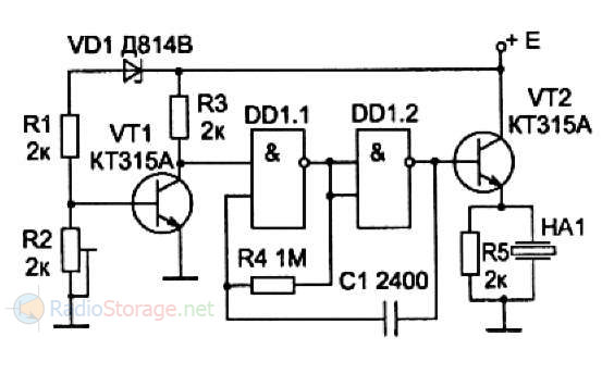 Схема сигнализатора разряда аккумуляторной батареи