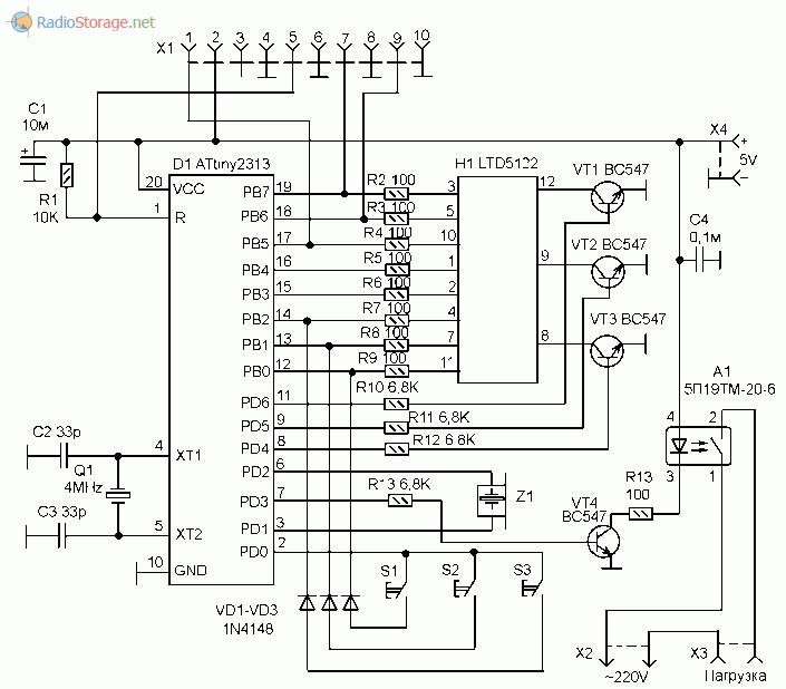 Дверная охранная сигнализация на микроконтроллере с ик-управлением.