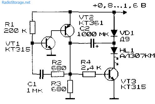 Принципиальная схема удвоителя напряжения для питания светодиода