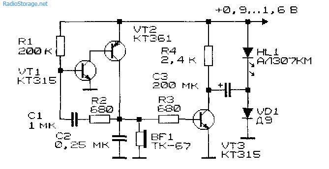 Принципиальная схема преобразователя напряжения для светодиода на основе генератора ЗЧ