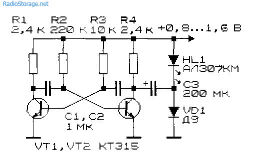 Низковольтный преобразователь напряжения на основе асимметричного мультивибратора