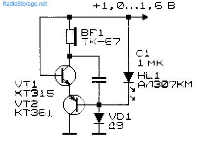 Двухтранзисторный преобразователь напряжения для светодиода с применением катушки от телефона