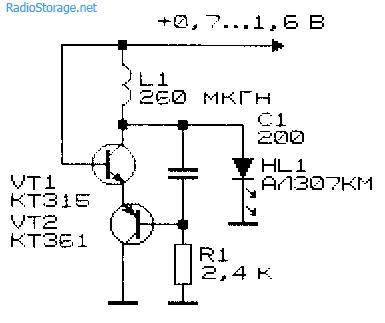 Схема простого преобразователя напряжения для светодиода с катушкой от ПЧ-контура приемника