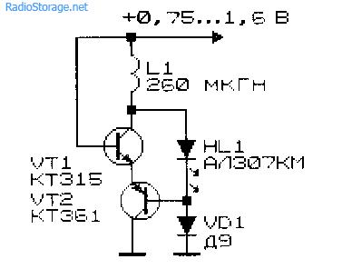 Очень простой низковольтный преобразователь напряжения с включенным светодиодом вместо конденсатора