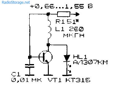 Преобразователь напряжения для светодиода на одном транзисторе КТ315