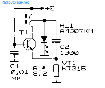 Простой преобразователь напряжения для низковольтного питания светодиода АЛ307