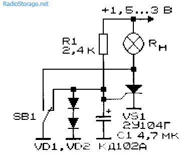 Вариант схемы управления тиристором одной кнопкой