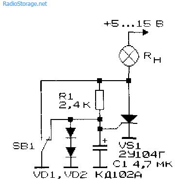 Схема электронного ключа на тиристоре с последовательным подключением нагрузки
