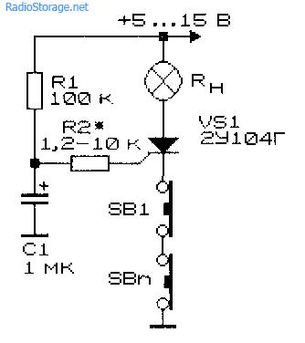 Схема простого тиристорного коммутатора нагрузки с двумя кнопками