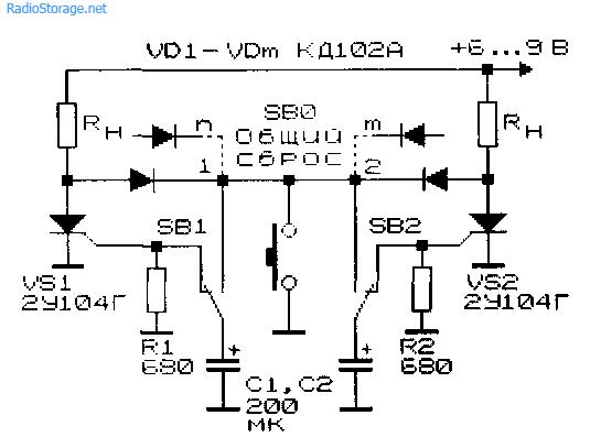 Принципиальная схема аналога многокнопочного переключателя с использованием тиристоров