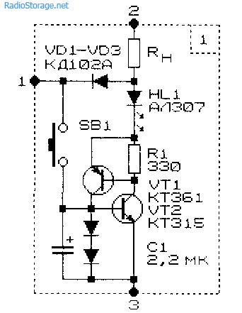 Схема эквивалентной замены тиристора транзисторами