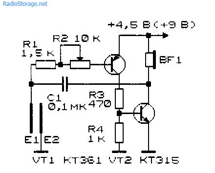 Простые имитаторы звуков, световые эффекты, игрушки (11 схем) .