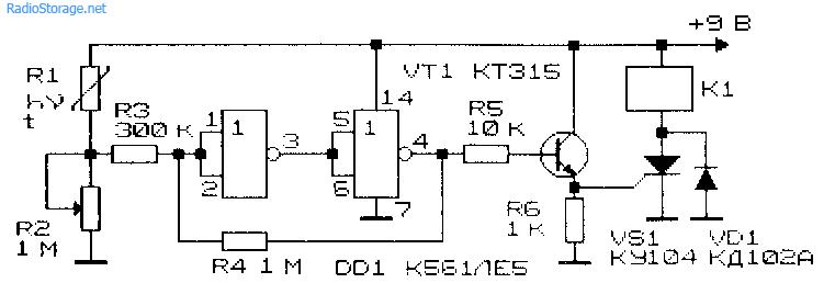 Схема фото- (термо-) реле