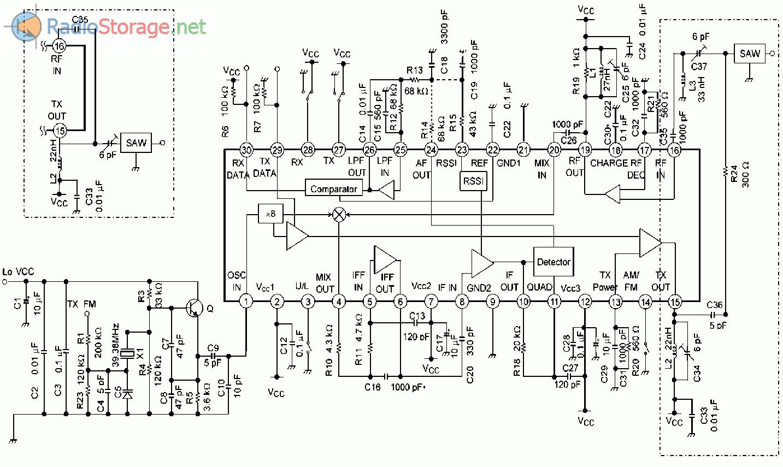 Принципиальная схема типового включения TA32305FN, RF-трансивер на 250-450МГц