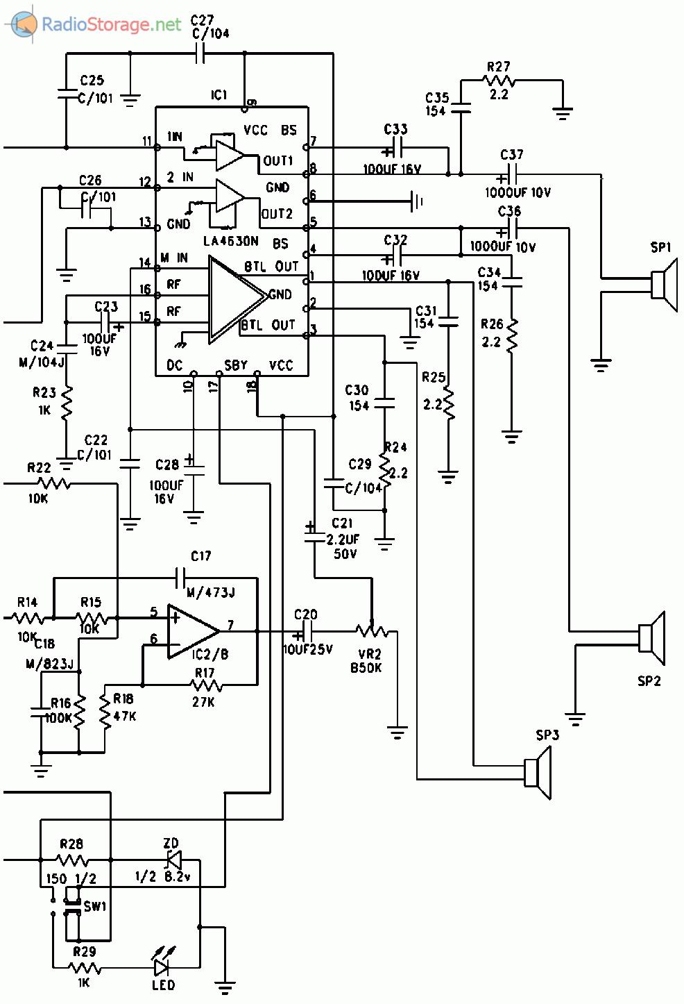 Схема усилителя мощности низкой частоты
