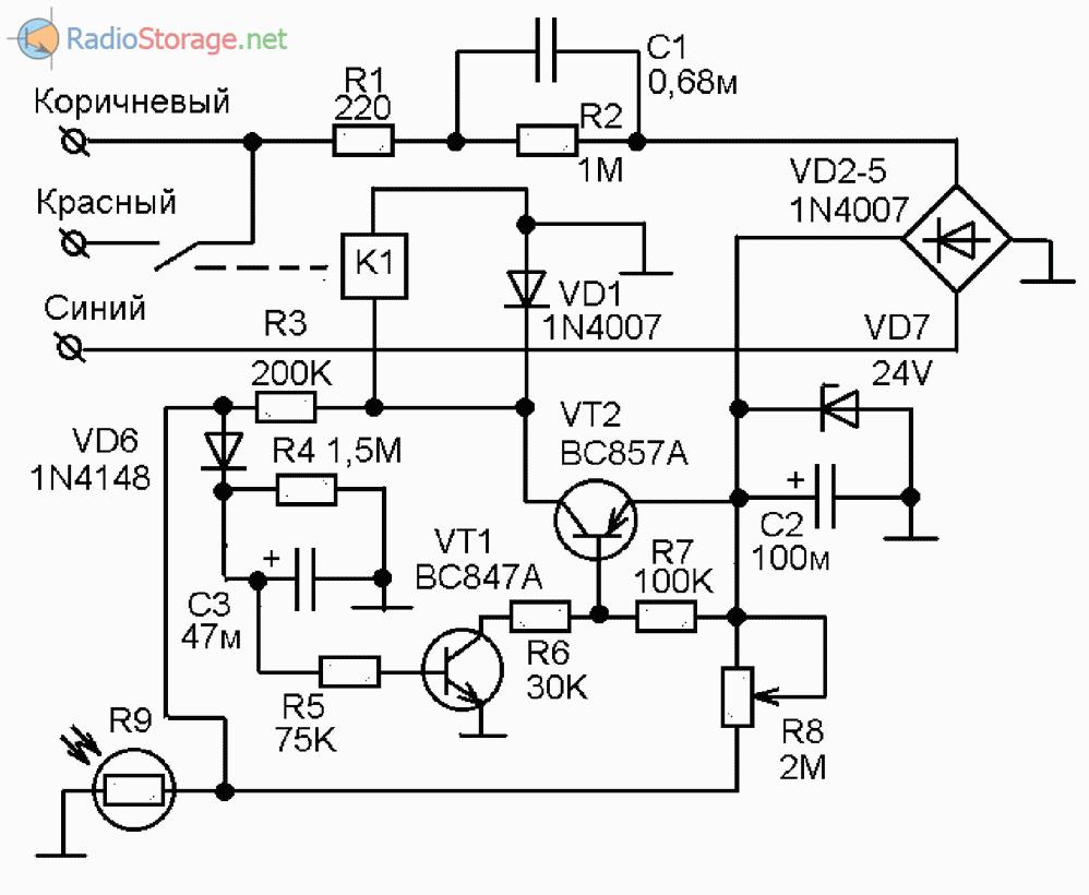 Схема автоматический выключатель света фото 493