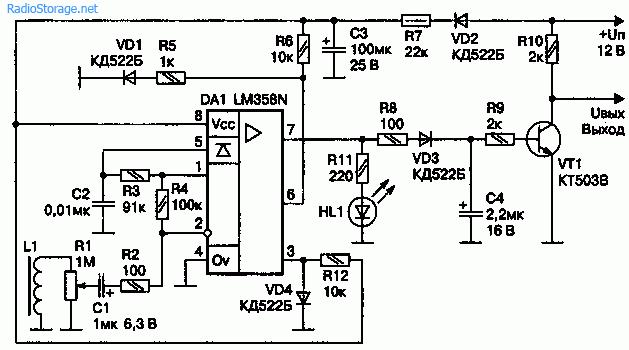 Схема чувствительного датчика