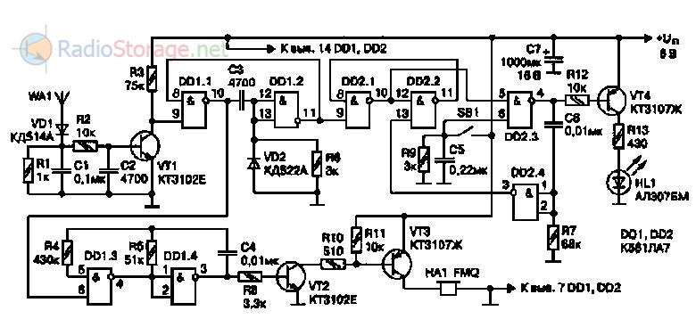 Рис. 2.41.  Электрическая схема устройства звуковой и световой индикации активности сотового телефона.