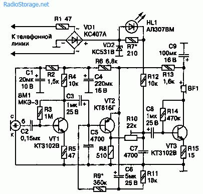 Электрические схемы микрофонов телефонных аппаратов.