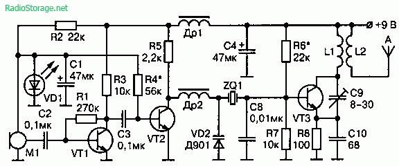 Схема радиопередатчика с