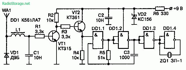 Схема детектора радиоволн (до