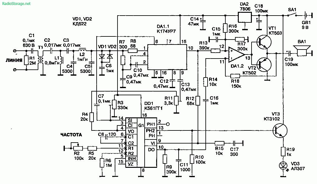 по проводам (25—125 кГц)