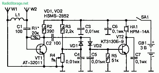 Схема индикатора излучения от