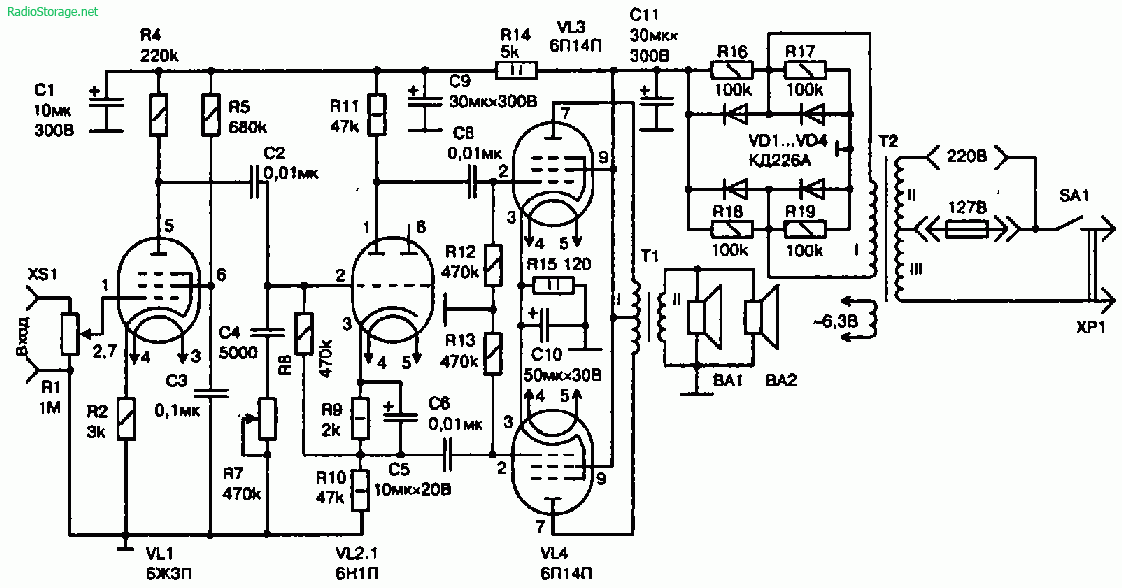 Схема лампового УНЧ на 10 Вт