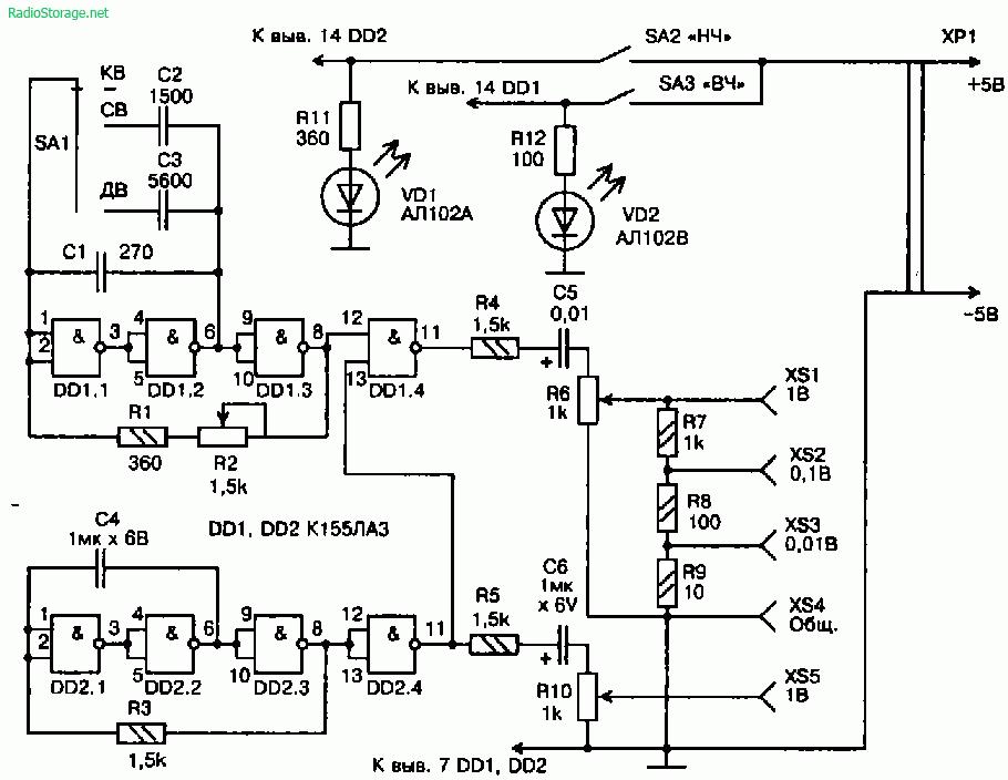Принципиальные lt b gt схемы генераторов lt b gt на микросхеме к155лаз.