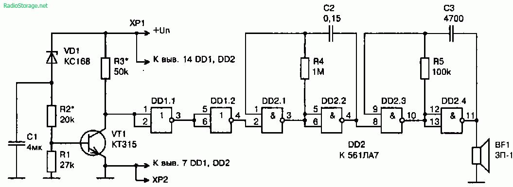 Схема сигнализатора разрядки