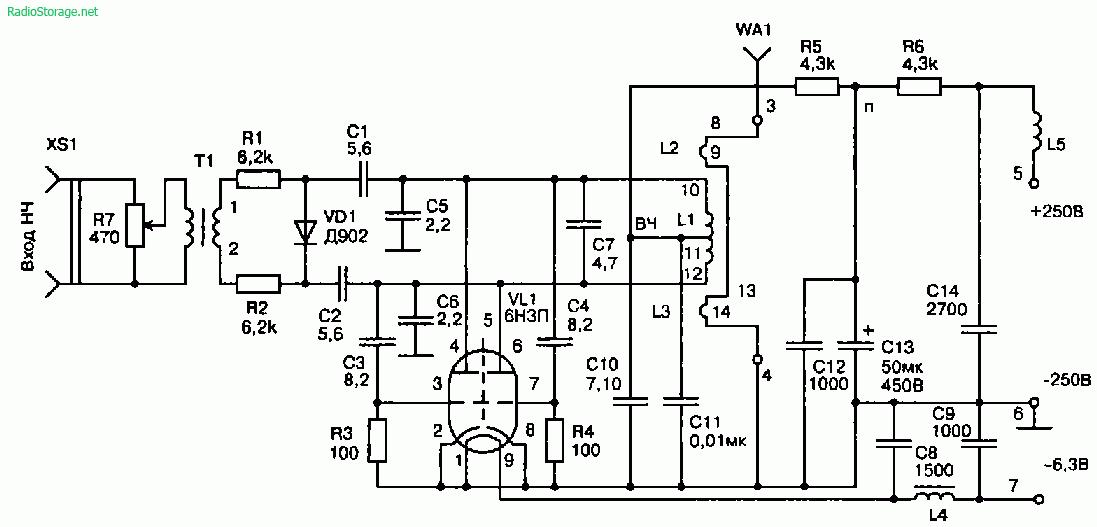 радиовещания на лампе 6Н3П