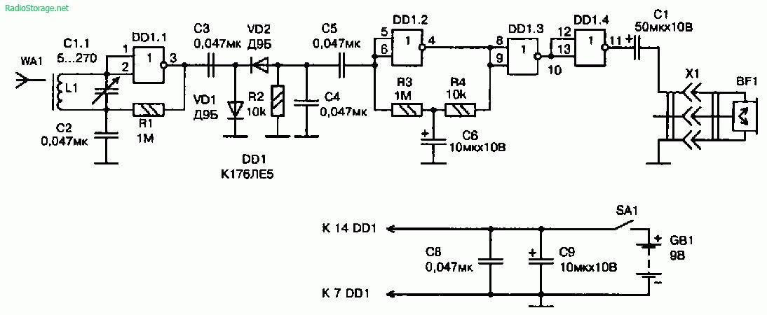Схема радиоприемника прямого