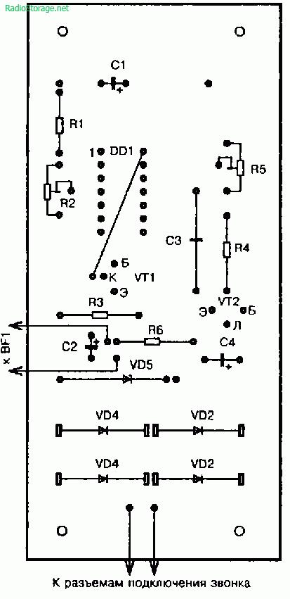 Схема мелодичного звонка для