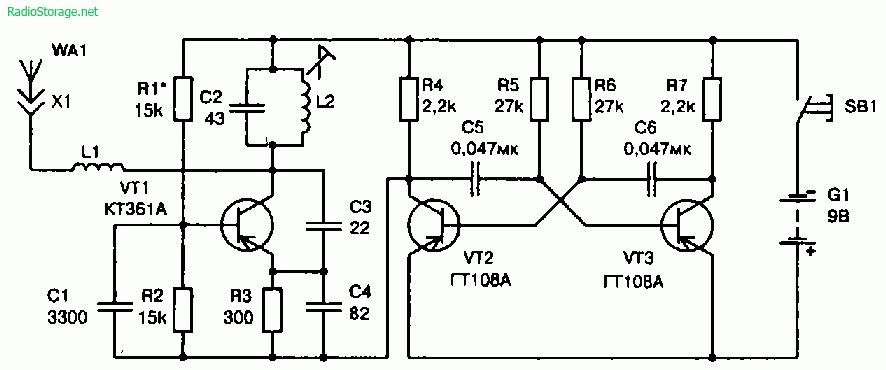 Принципиальная схема передатчика радиоуправляемой модели