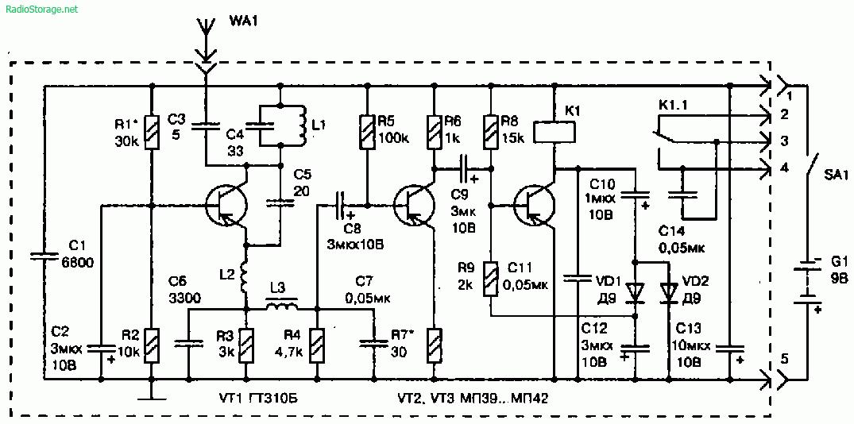 Схемы простых передатчика и приемника для радиоуправления моделями (3 транзистора)