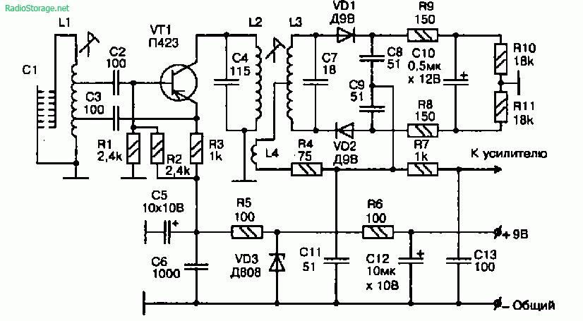 Принципиальная схема высокочастотного звукоснимателя