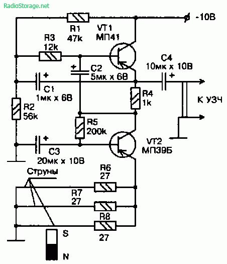 Принципиальная схема одного из предусилителей электрогитары без адаптера