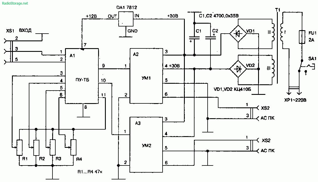 схема включения наушников и микрофона.