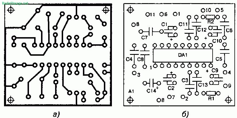 Печатная плата (а) и монтаж на