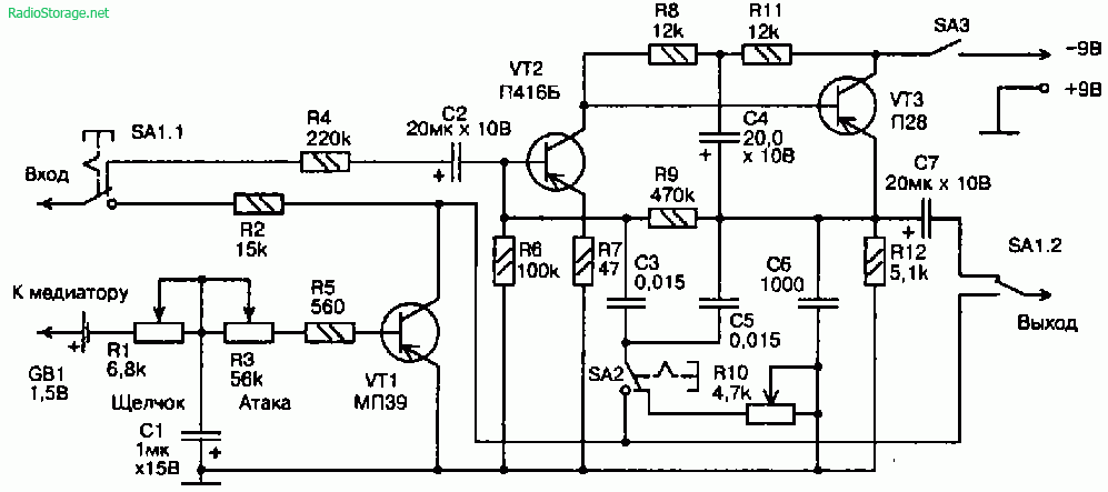 Схема коробочки гитарных