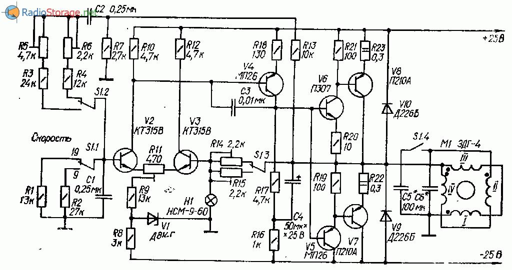 Схема магнитофон скорость двигателя