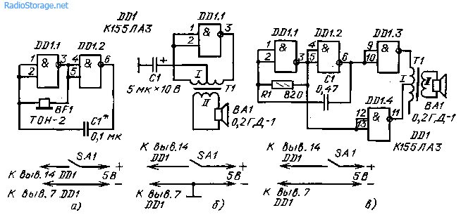 Телеграфный ключ SA1 включают в разрыв цепи питания.  Эти генераторы можно использовать и в других целях...