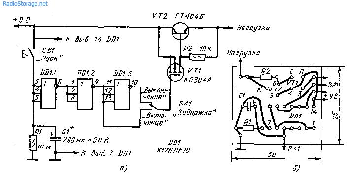 Схема таймера на микросхеме